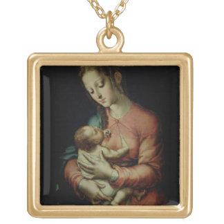 La Vierge et l'enfant (huile sur le panneau) Pendentif Carré