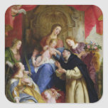 La Vierge offrant le chapelet Autocollant Carré