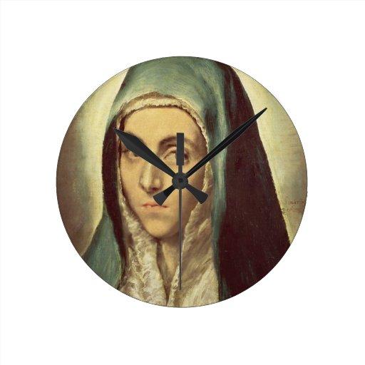 La Vierge Pleurant Huile Sur La Toile Horloge Murale