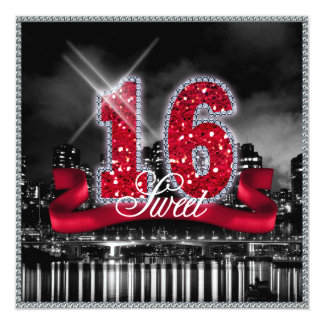 La ville allume le sweet sixteen ID242 rouge Carton D'invitation 13,33 Cm