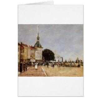 La ville de Dordrecht par Eugene Boudin Carte De Vœux