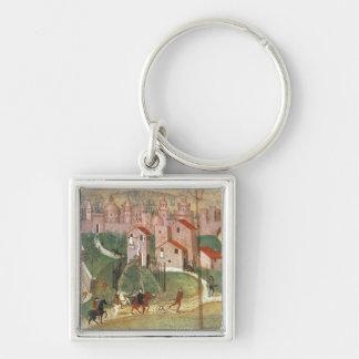 La ville de Prato (fresque) Porte-clé Carré Argenté