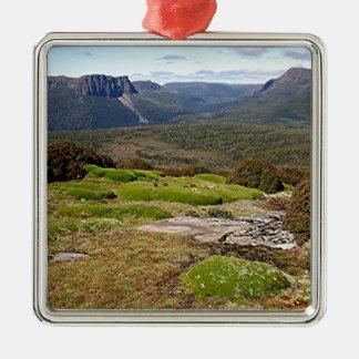 La voie sur terre 2 de la Tasmanie Ornement Carré Argenté