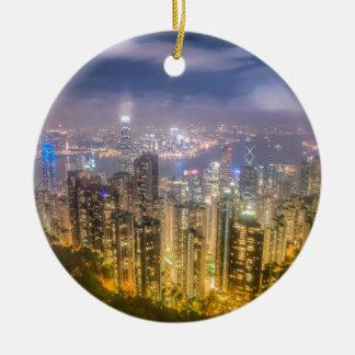La vue de Hong Kong de la crête Ornement Rond En Céramique