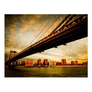 La vue de pont de Manhattan du côté de Brooklyn Cartes Postales