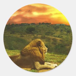 La vue du lion adhésifs ronds