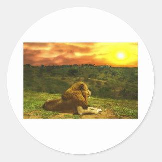 La vue du lion autocollants ronds