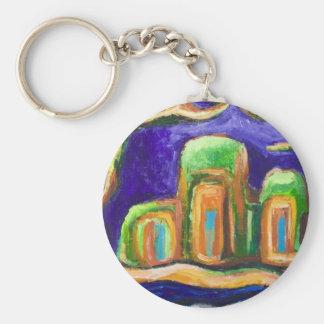 L'abbaye dans la jungle (paysage abstrait) porte-clé rond