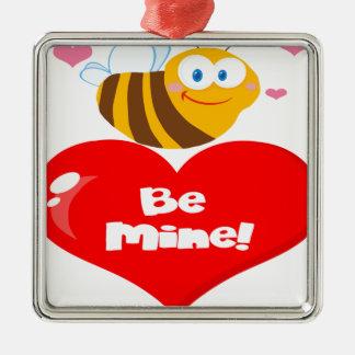 L'abeille mignonne tenant dire de coeur soit la ornement carré argenté