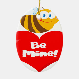 L'abeille mignonne tenant dire de coeur soit la ornement ovale en céramique