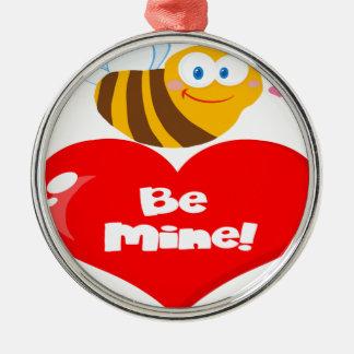 L'abeille mignonne tenant dire de coeur soit la ornement rond argenté