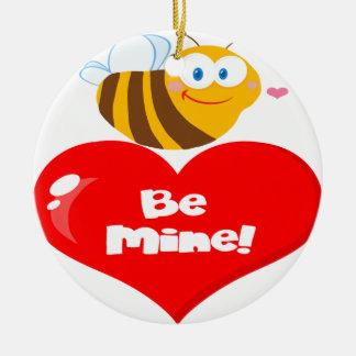 L'abeille mignonne tenant dire de coeur soit la ornement rond en céramique