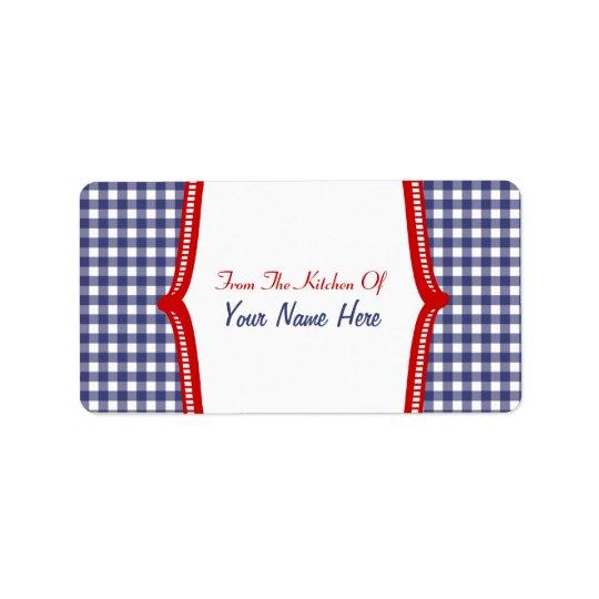 """Label de cuisine """"de la cuisine"""" du guingan bleu étiquette d'adresse"""