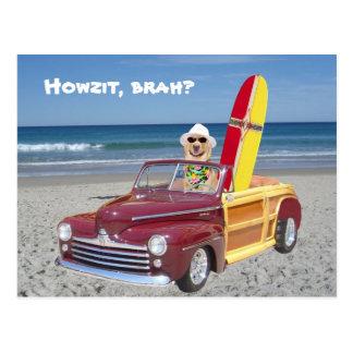 Laboratoire jaune conduisant Woodie Carte Postale