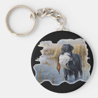 Labrador avec la chasse de canard de canard porte-clé rond