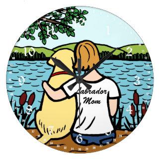 Labrador et maman jaunes grande horloge ronde