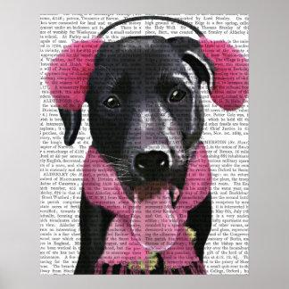 Labrador noir avec des manchons d'oreille poster