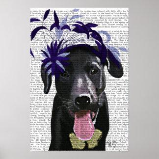 Labrador noir avec Fascinator bleu Poster