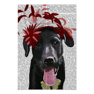 Labrador noir avec Fascinator rouge Poster