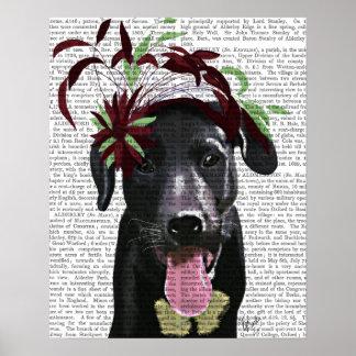 Labrador noir avec Fascinator vert Poster