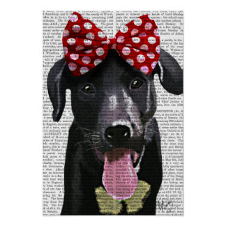 Labrador noir avec l'arc rouge sur la tête poster