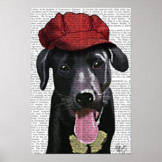 Labrador noir avec le casquette rouge poster
