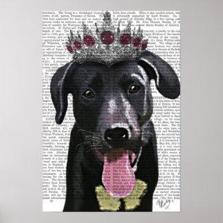 Labrador noir avec le diadème poster
