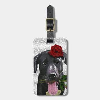 Labrador noir avec les roses 2 étiquette pour bagages