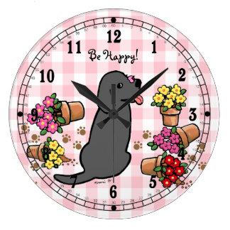 Labrador noir malfaisant grande horloge ronde