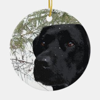 Labrador noir - pins de scintillement ornement rond en céramique