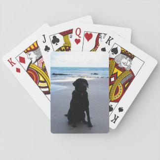 Labrador noir sur une plage jeu de cartes