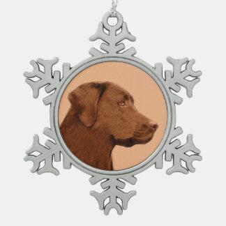 Labrador retriever (chocolat) ornement flocon de neige pewter