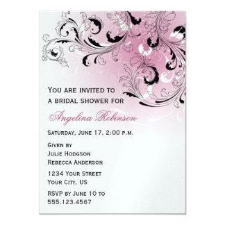L'abrégé sur rose noir tourbillonne douche carton d'invitation  11,43 cm x 15,87 cm