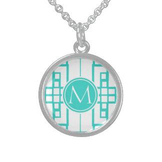 Labyrinthe et monogramme de turquoise collier en argent