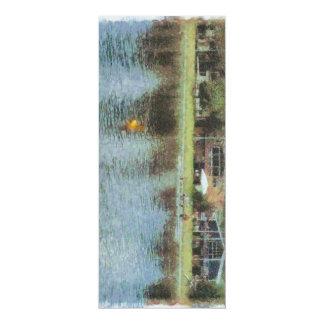 Lac et cottages carton d'invitation  10,16 cm x 23,49 cm