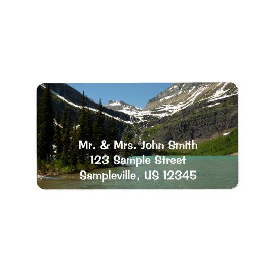 Lac Grinnell au parc national de glacier Étiquette D'adresse
