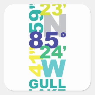 Lac gull, coordonnées de MI - l'eau Sticker Carré