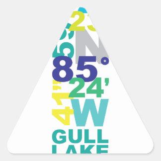 Lac gull, coordonnées de MI - l'eau Sticker Triangulaire