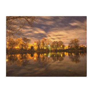 Lac la nuit impression sur bois
