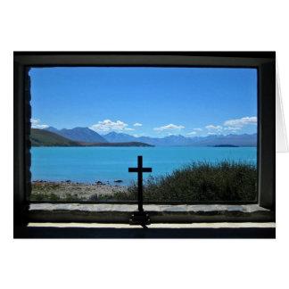 Lac Tekapo, NZ.  de l'église du bon berger Carte De Vœux