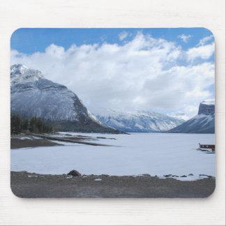 Lac winter et tapis de souris de paysage de