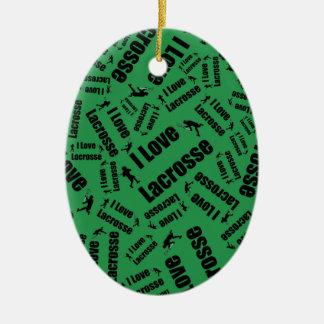Lacrosse d'amour du vert I Ornement Ovale En Céramique