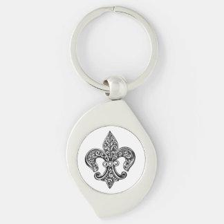 Lacy Fleur De Lis noir et blanc vintage Porte-clé Swirl Argenté