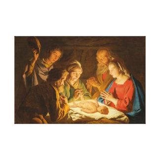 L'adoration des bergers a enveloppé l'art de toile