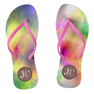 L'adulte multi du monogramme JC de couleur, les Tongs