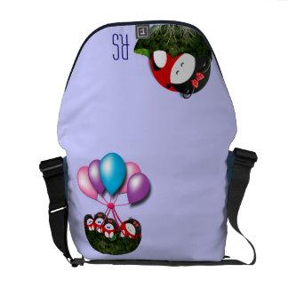 Ladybugette montant en ballon décoré d'un monogram sacoches