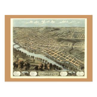 Lafayette DEDANS, carte 1868 panoramique antique