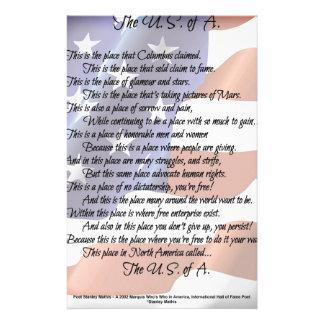 L'affiche d'art de poésie de drapeau des papeterie