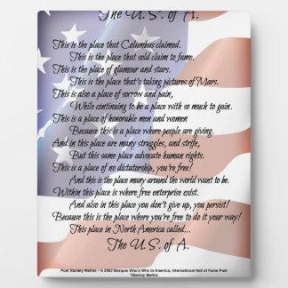 L'affiche d'art de poésie de drapeau des photo sur plaque