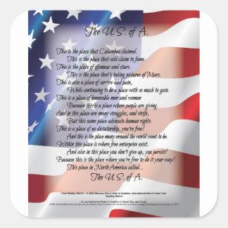 L'affiche d'art de poésie de drapeau des sticker carré